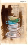Teacups - Water soluable crayons and acrylic on collaged book page