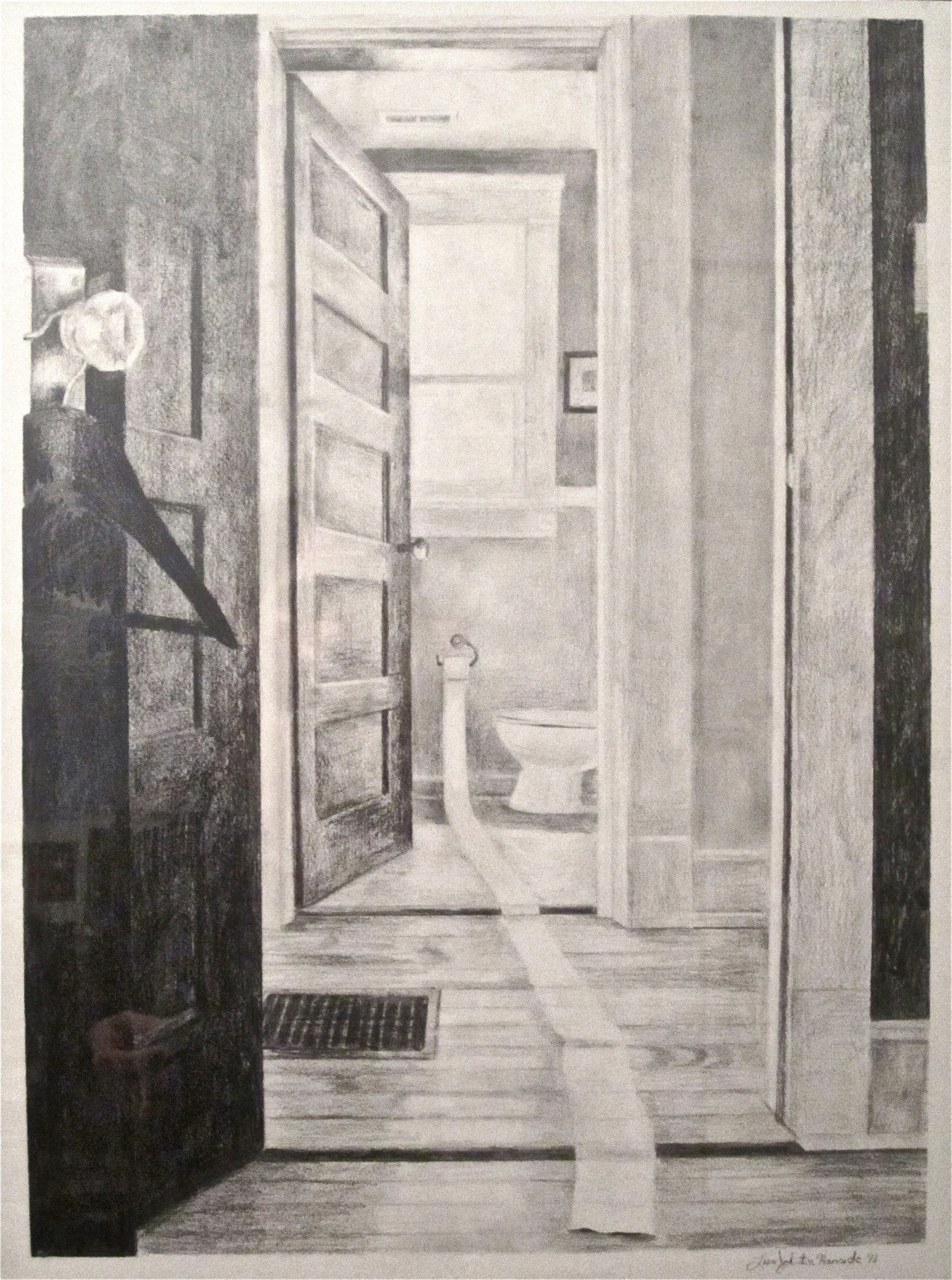 Bathroom perspective drawing - This Drawing Is Of The Interior Of Our Hallway Upstairs And Bathroom I Created This Work In Class With My Students To Explain Sighting And One Point