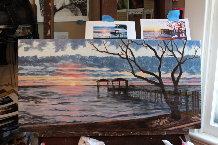 Sunset on the Bay....on the easel.