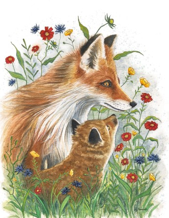 Foxes & Florals $350 (Prints Available)
