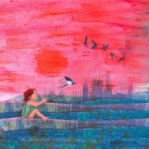 Swallows At Sunset